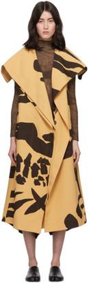 Issey Miyake Tan and Black Hold Print Sleeveless Coat