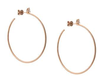 Anita Ko 18kt rose gold pear diamond stud hoop earrings