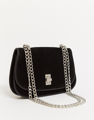 Urban Code Urbancode suede cross body bag with weave edges in black