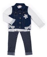 Little Lass 3-pc. Denim Vest Set - Preschool Girls 4-6x
