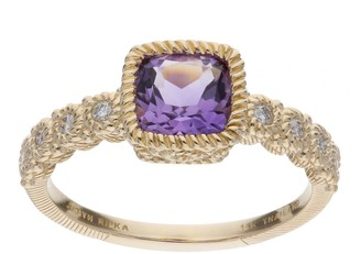 Judith Ripka 14K Gold Gemstone & Diamond Accent Ring
