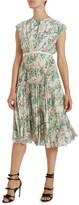 Giambattista Valli Pleated Floral Print Silk Dress