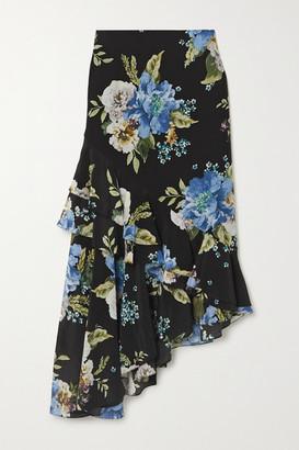 Erdem Antoinette Asymmetric Ruffled Floral-print Silk Crepe De Chine Midi Skirt - Black