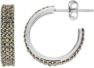 Unbranded Sterling Silver Multi Row Marcasite Hoop Earrings