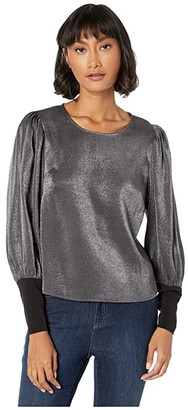 BCBGeneration Puff Sleeve Snap Back Top ZWU15A60 (Metallic Black) Women's Clothing