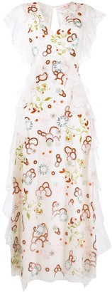 Tory Burch V-neck floral embroidered silk dress