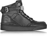 Moschino Black Leather Sneaker w/Silver Tone Studs