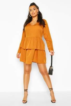 boohoo Plus Woven Tiered Shirt Dress