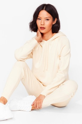 Nasty Gal Womens Leave 'Em to Knit Hoodie and Leggings Lounge Set - Cream