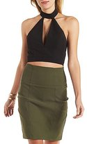 Charlotte Russe Mock Neck Plunge Crop Top