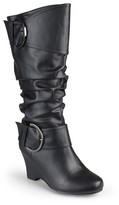 Women's Journee Collection Extra Wide Calf Tall Faux Leather Buckle Boots