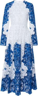 Valentino Grace-Print Cotton-Blend Guipure Lace Maxi Dress