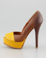 Fendi Fendista Colorblock Pump, Beige/Gold Tan