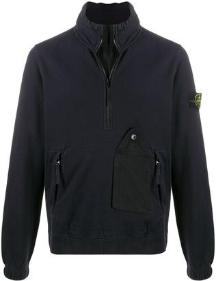 Stone Island Quarter-Zip Garment Dyed Sweatshirt