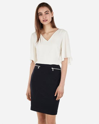 Express High Waisted Zip Pocket Pencil Skirt