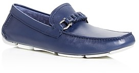Salvatore Ferragamo Men's Stuart Braided Leather Moc-Toe Drivers - Wide