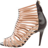 Brian Atwood Leather Cage Sandals