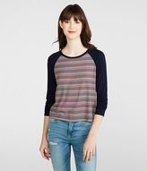 Aeropostale Womens Prince & Fox Ribbed Stripe Baseball Top Blue