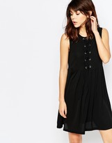 Brave Soul Skater Dress With Tie Up Front