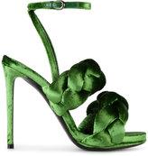Marco De Vincenzo Green braided Ankle Stap sandals - women - Leather/Velvet - 36
