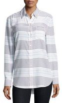 Equipment Reese Striped Long-Sleeve Oxford Shirt, White/Blue