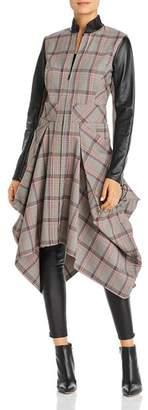 SNIDER Klimt Draped Leather-Trim Jacket