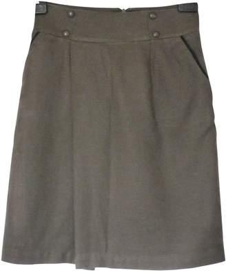 Cyrillus Khaki Cotton Skirt for Women