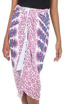 Sequined Deer and Elephant Floral Pattern Rayon Sarong, 'Bright Sunshine'