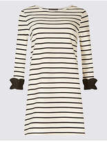 M&S Collection Cotton Rich Striped Ruffle Cuff Tunic