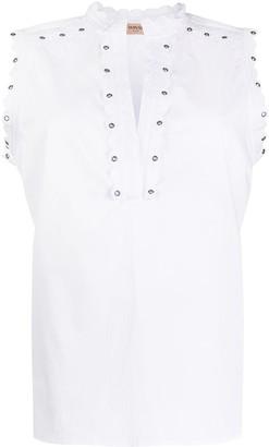 Twin-Set Broderie-Trimmed Poplin Shirt