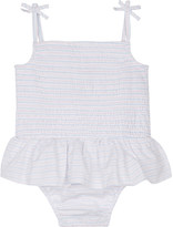 The Little White Company Smocked skirted cotton bodysuit 0-24 months
