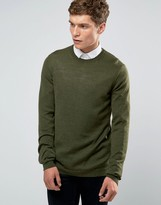 Asos Merino Wool Crew Neck Sweater in Khaki Twist
