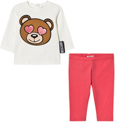 Moschino Cream and Pink Heart Eye Bear Print Tee and Leggings Set
