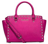 Michael Kors Selma Stud Medium Top Zip Satchel RASPBERRY/SILVER