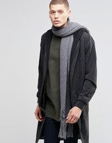 Asos Skinny Scarf In Charcoal Yarn Interest