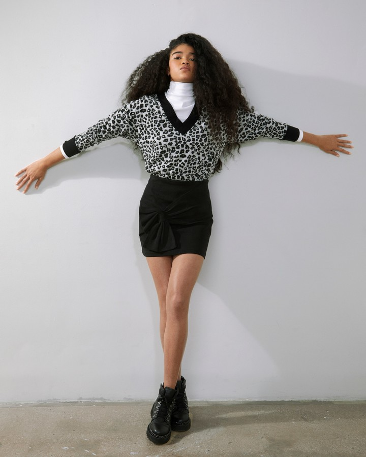 Thumbnail for your product : Vince Camuto Leopard-Pattern V-Neck Sweater