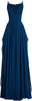 Elie Saab Plunging V-neck sleeveless silk-georgette gown