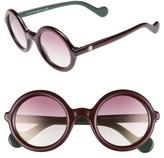 Moncler Women's 50Mm Gradient Lens Round Sunglasses - Black/ Cream/ Smoke Flash