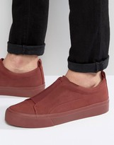 Asos Slip On Trainers In Burgundy With Elastic