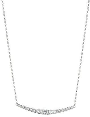Plevé 18K White Gold Diamond Gradual Bar Pendant Necklace
