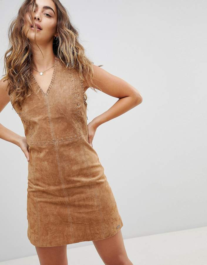Pepe Jeans New Clare Real Suede Dress-Brown