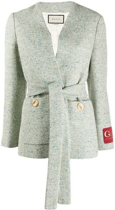 Gucci Belted Textured Jacket