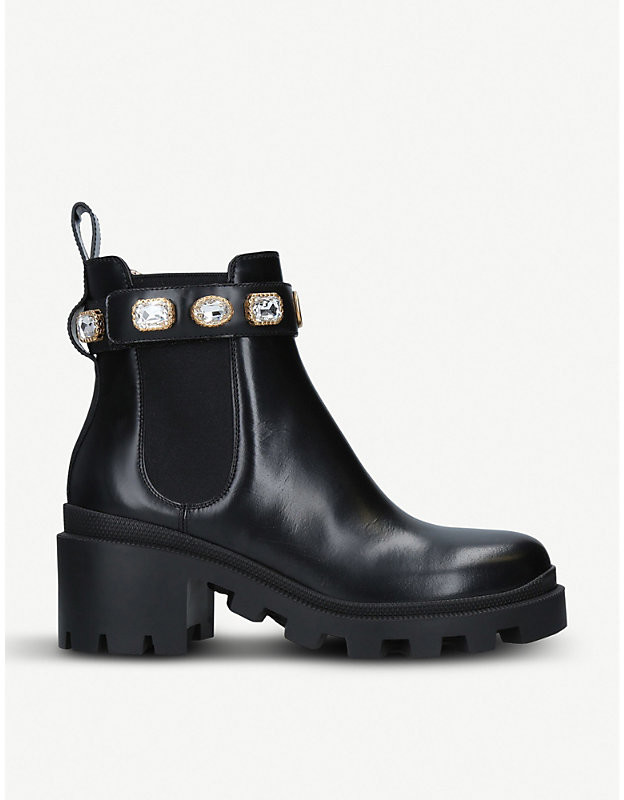 Gucci Trip crystal-embellished leather Chelsea boots