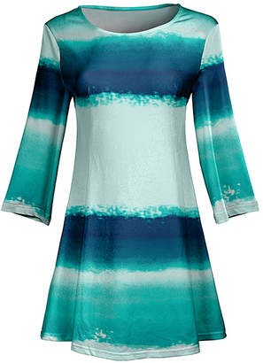 Lily Women's Tunics BLU - Blue & Turquoise Brushstroke Flared Tunic - Women & Plus