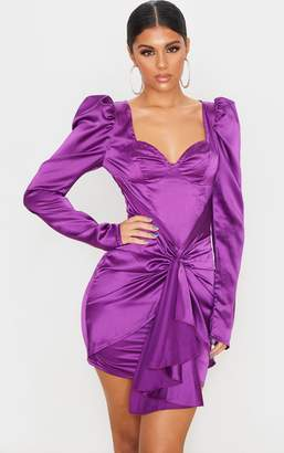 PrettyLittleThing Purple Satin Long Sleeve Tie Skirt Detail Bodycon Dress