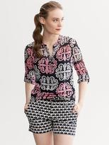 Banana Republic Milly Collection Medallion Print Roll-Sleeve Top