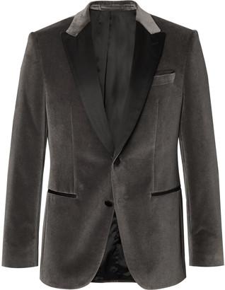 HUGO BOSS Anthracite Helward Slim-Fit Satin-Trimmed Cotton-Velvet Tuxedo Jacket