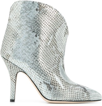 Paris Texas Metallized Embossed Ankle Boots