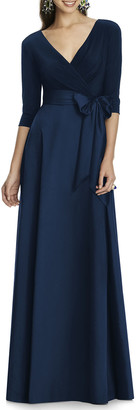 Alfred Sung V-Neck 3/4-Sleeve Marocain Jersey-Bodice A-Line Gown