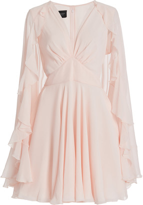 Giambattista Valli Ruffled Silk Mini Cape Dress
